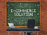 E-Commerce Solution Concept. Doodle Icons on Chalkboard.