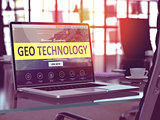 Geo Technology Concept on Laptop Screen.
