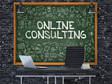 Online Consulting Concept. Doodle Icons on Chalkboard.