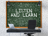 Listen and Learn on Chalkboard with Doodle Icons.