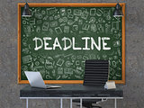 Chalkboard on the Office Wall with Deadline Concept.