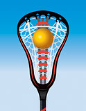 Closeup of Lacrosse Stick Pocket and Ball