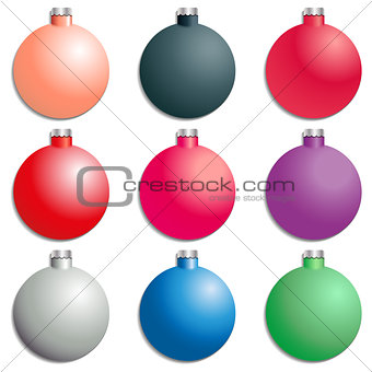 A set Christmas tree decorations, vector illustration.