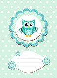 baby card cute owl, baby owl invitation, frame for text cute animal, cartoon owl vector illustration