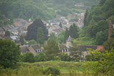 Overview of a small village in a Hill Country, Nismes in Belgium