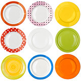 plates or dishes top view set isolated
