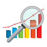 Finance graph and magnifying glass.