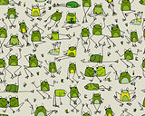 Funny frogs pattern, sketch for your design