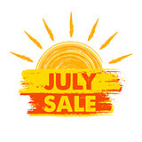july sale with sun sign, yellow and orange drawn label
