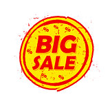 big sale and percentages off, round drawn label