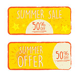 summer sale and offer with 50 percentages off and sun and starfi