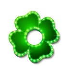 Shine lucky clover with shadow on white background for your design