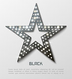 Star retro black metal light banner.