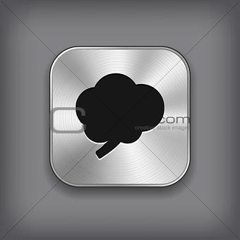 Brain icon - vector metal app button