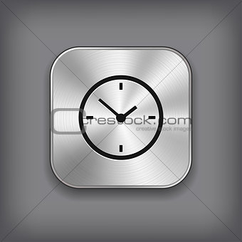 Clock icon - vector metal app button