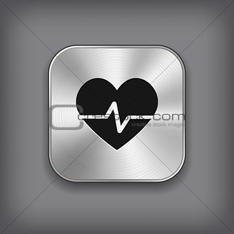 Cardiology icon - vector metal app button