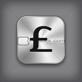 Pound icon - vector metal app button