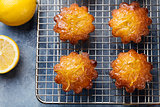 Lemon muffins cakes, financiers on a cooling rack