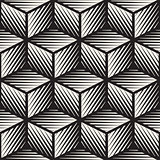 Vector Seamless Black And White Cube Shape Lines Engravement Geometric Pattern