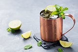 Cold Moscow Mules cocktail ginger beer vodka, lime