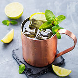 Moscow Mules cocktail: ginger beer, vodka, lime