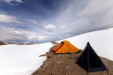 Tents in snow mountains