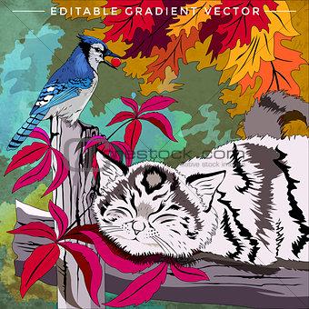 Kitten and Bird Illustration