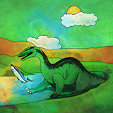 Dinosaur in the habitat. Illustration Of Baryonyx