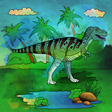 Dinosaur in the habitat. Illustration Of Allosaur