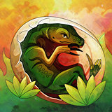 Hatching Dinosaur Egg IIllustration