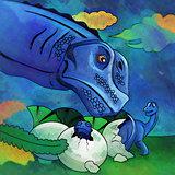 Dinosaur in the habitat. Illustration Of Apatosaur
