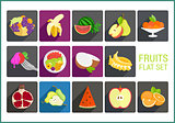 Fruits flat vector icons set
