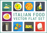 Italian food flat vector icons