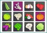 Vegetables flat vector icons set