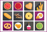 Pastry flat vector icons set