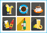 Beverages flat vector icons set