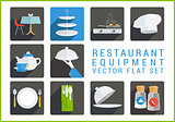 Restaurant utensil flat vector icons