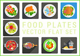 Main dishes flat vector icons