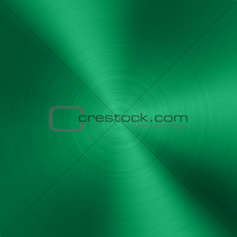 Green Metal background with realistic circular brushed texture chrome, iron, stainless steel, silver for user interfaces UI, applications apps and business presentations. Vector illustration.