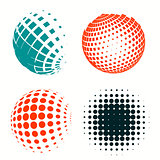 Set of colorful logos halftone Circles Logo, vector illustration