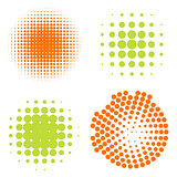 Set of Abstract Halftone Circles Logo, vector illustration