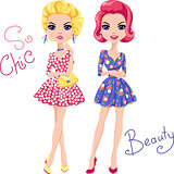 Vector Pop Art cute fashion girls