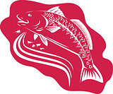 Red Drum Spot Tail Bass Fish Retro