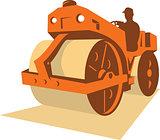 Construction Road Roller Retro