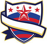 Shield With Stars and Stripes Ribbon Retro