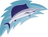 Sailfish Jumping Retro Style