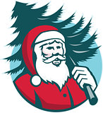 Santa Claus Carrying Christmas Tree Retro