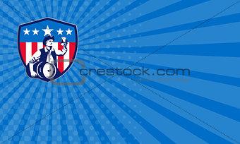 Business card American Patriot Beer Keg Flag Crest Retro