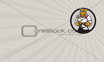 Business card Leopard Heating Specialist Mechanic Circle Cartoon