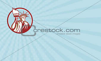 Business card Statue of Liberty Holding Flaming Torch Circle Retro
